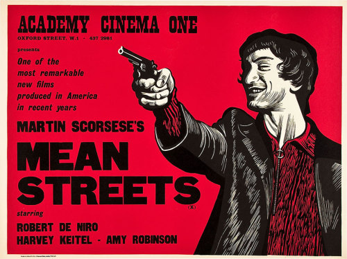 movieposteroftheday:  1973 UK quad poster for MEAN STREETS (Martin Scorsese, USA, 1973) Artist: Peter Strausfeld (1910-1980) [see also] Poster source: Heritage Auctions Happy 70th birthday to Martin Scorsese, born November 17, 1942.