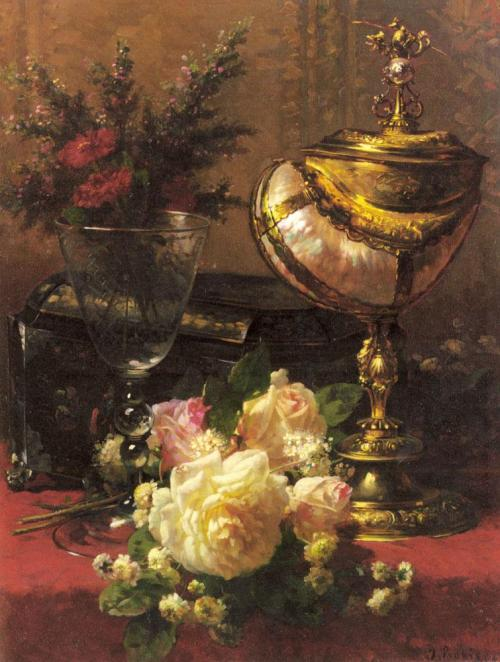 A Bouquet of Roses and other Flowers in a Glass Goblet, Jean Baptiste Robie