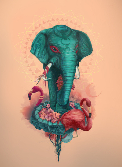 Elephant on the mat by Tatiana Kazakova