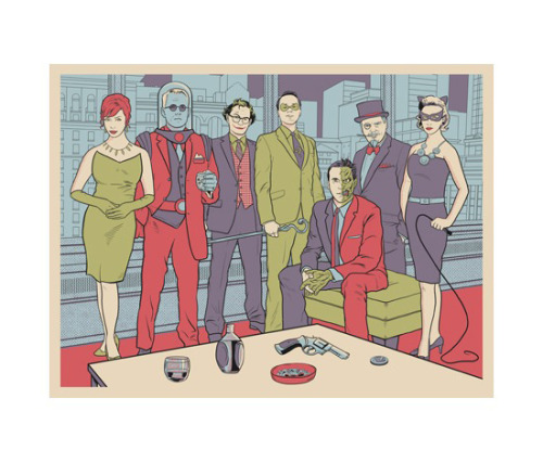 heyoscarwilde:  Mad Bad Men Batman's rogues gallery/Mad Men mash-up illustrated by Rob Dobi :: via dribbble.com