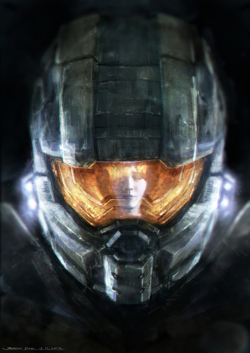 justinrampage:  In celebration of the new Halo 4 being released, Kuala Lumpur, Malaysia artist and Halo fan Johnson Ting has created an excellent fan art illustration of the iconic Master Chief and his artificially intelligent sidekick Cortana. Related Rampages: Marvel Re-imagined (More) Cortana, please.. by Johnson Ting (deviantART) (Facebook) (Twitter) via Johnson Ting
