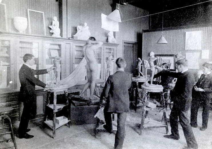 Early men's sculpture class at the Pratt Institute