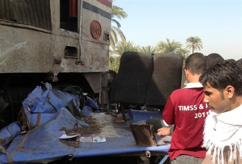 Dozens of children killed after train crashes into school bus in Egypt (Photo: Reuters) Updated at 10 a.m. ET: CAIRO — At least 49 people, the vast majority children, were killed when a train crashed into a school bus in a city south of Cairo Saturday, Egyptian police and the governor of the city told NBC News. Read the complete story.