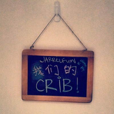 Jarrelfvin's crib. Damn fly. Yeah we've got a chalkboard. #fromdacrib