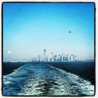 Goodbye, Manhattan! (Our view from the back of the Staten Island Ferry.)