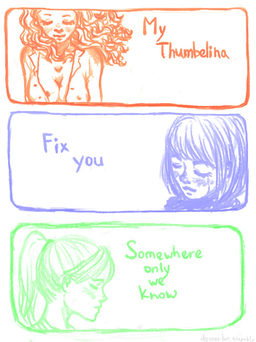 My three favorite songs ever Thumbelina by Nightmare Of YouFix You by ColdplaySomewhere only we know by Keane
