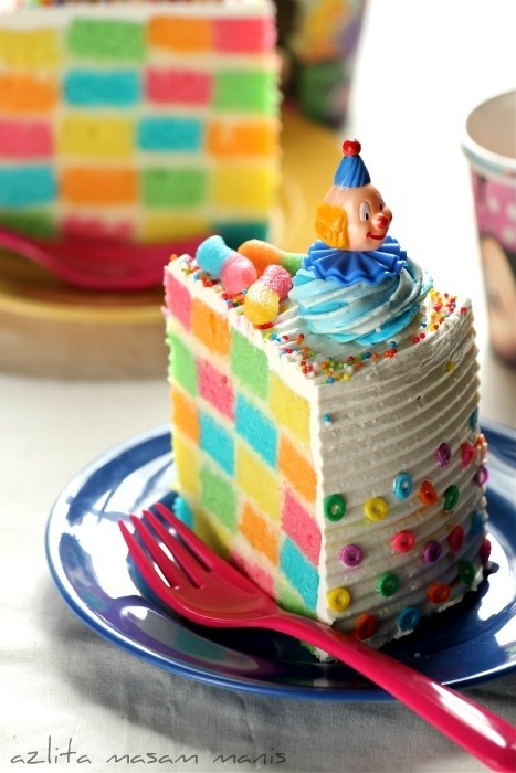Rainbow Checkered Cake Recipe