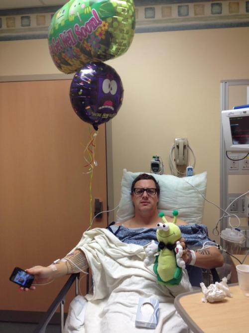 Candlebox frontman Kevin Martin, recovering from nasal surgery yesterday. See pics (and video) leading up to the procedure on the band's Facebook page.