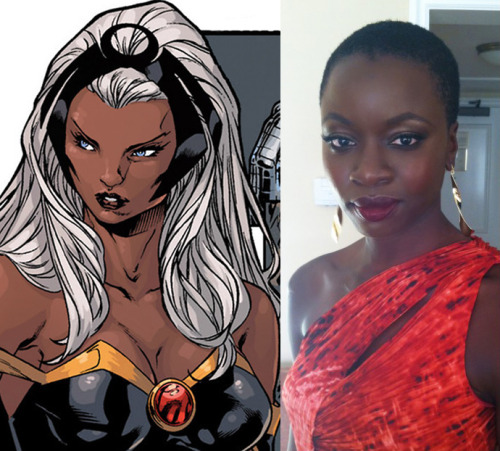 Danai Gurira - Ororo Munroe (Storm) I changed my Storm fan cast because I finally caught up with The Walking Dead and the more I watched Michonne (played by Gurira) the more I kept thinking the actress would be perfect for Ororo. Danai Gurira is from Iowa but her parents were both from Zimbabwe and she can do an impressive accent. She's 34 and honestly her whole look just feels like Ororo and she's a great actress. My X-Men Fan Cast has been updated to reflect this change.