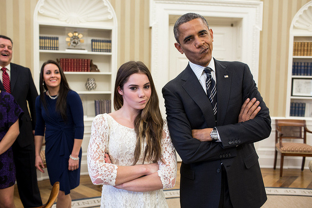"President Barack Obama jokingly mimics U.S. Olympic gymnast McKayla Maroney's ""not impressed"" look while greeting members of the 2012 U.S. Olympic gymnastics teams in the Oval Office, Nov. 15, 2012. Steve Penny, USA Gymnastics President, and Savannah Vinsant laugh at left. (Official White House Photo by Pete Souza)"