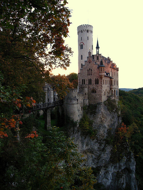 visitheworld:  Lichtenstein Castle, situated on a cliff in the Swabian Jura, Germany (by fmorgen).