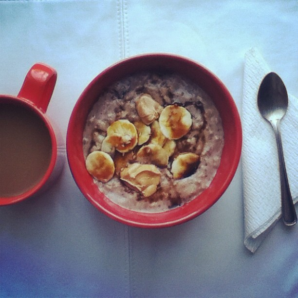 Saturday morning breakfast: Peanut butter and banana oatmeal + coffee