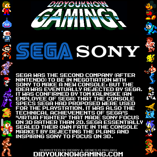 Sega and Sony.  Source 1 Source 2