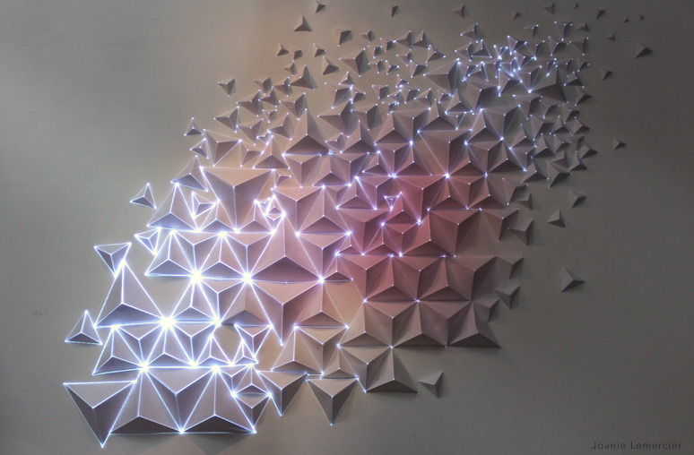 joanielemercier:  Paper, tape, light.Video projection onto origami.
