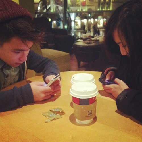 innocent-cherub:  Instagramming! We're so antisocial LOL @michelle9428 @kaiitsang #instagram #antisocial #lols #iphones #insta #starbucks #chilling
