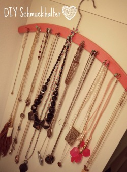 truebluemeandyou:  DIY Hanger Jewelry Display Tutorial from DIY Das Mach Ich Selber! here. I've seen this before using hooks on the bottom of the hanger, but I like how she colors the nails with nail polish. I used Google Chrome to automatically translate from German to English, but the photos alone are good enough.