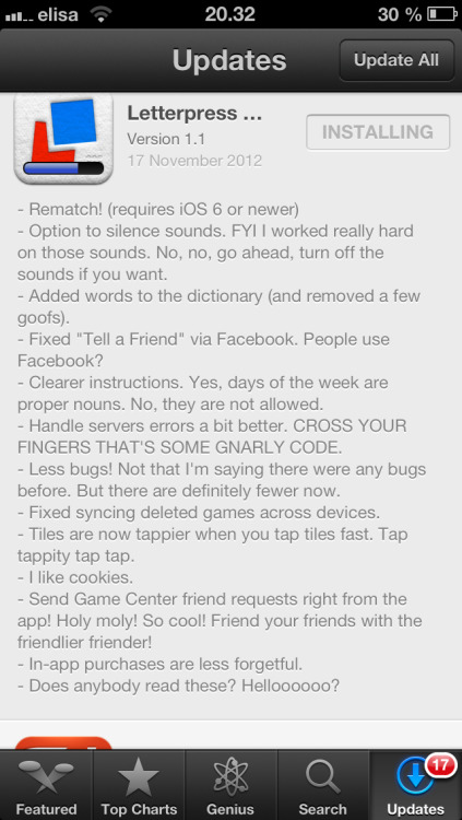 You've gotta love these Letterpress release notes.