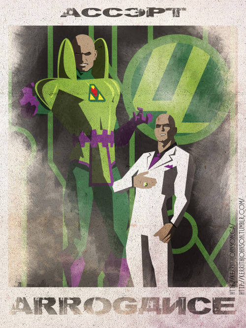 """Accept"" series: Keeping Villains iconic but nefarious. Spotlight: Lex Luthor!  For someone who's a genius scientist, engineer and business man his design sense is ridiculous. ;) Ah well I guess that's what you get when you hire only yes men. My favourite version of Lex is from the Justice League cartoon I think. Perfectly evil without anyone knowing (most of the time). Metropolis ""White Knight"" (In his own eyes) Kerrith - Eating 40 cakes My Tumblr