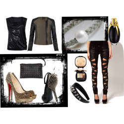 Fashion: Rocking the City in Black por mariaplb con mac cosmeticsAllSaints babydoll top / AllSaints leather biker jacket / Tripp  jeans / Christian Louboutin high heel pumps / Giuseppe Zanotti  shoes / Gathering Eye studded handbag, $41 / Topshop  / MAC Cosmetics  / Lady gaga fame perfume / White Crystal Pearl Choker Gray Leather Modern by LadyRebelDesigns