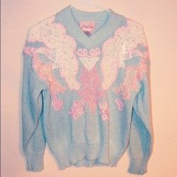 The perfect pastel Christmas sweater.. On sale meow ^.^ #sweater #etsy #vintage #pastel #babydoll #instafashion #ootd #cute #pretty #babyblue #pastelpink #moonshineapparel #unif #fashion