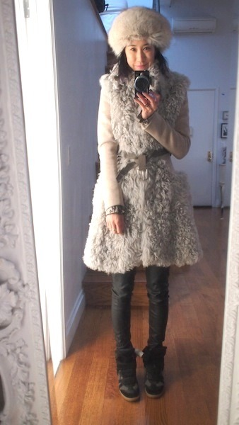 currently obsessed with my massive new Thakoon coat paired with a vintage hat, leather Bird leggings, and Isabel Marants