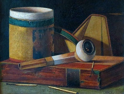 John Frederick Peto Tobacco Box, Pipe and Books 19th century