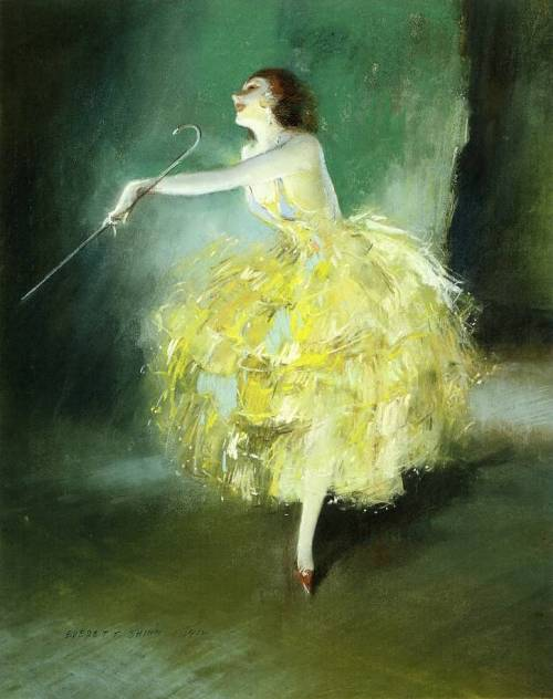 Vaudeville Dancer (1912). Everett Shinn (American, 1876-1953). Pastel on board. Shinn was the youngest member of the group of modernist painters who explored the depiction of real life. He is most famous for his numerous paintings of New York and the theater. The performance and vaudeville subjects gave Shinn the perfect motif in which to blend gritty realism and dramatic spectacle.