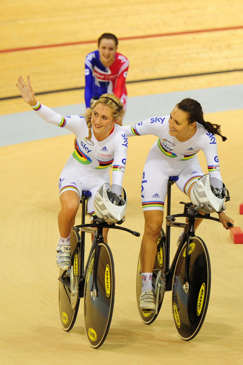 UCI Track Cycling World Cup Glasgow - Day 1 (by britishcycling.org.uk photos) Laura Trott, Dani King and Elinor Barker, after winning the Team Pursuit More photos of Day 1 on British Cycling's flickr
