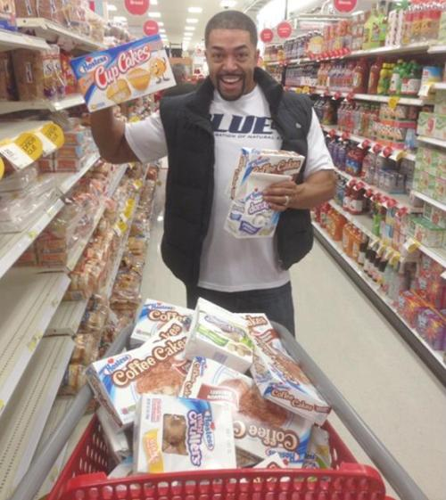 "Here's WWE star David Otunga buying 80,000 calories worth of Hostess snacks in an effort to ensure future generations would get a chance to have some. ""I don't want my son to go without Twinkies,"" he said, as eyes rolled everywhere."