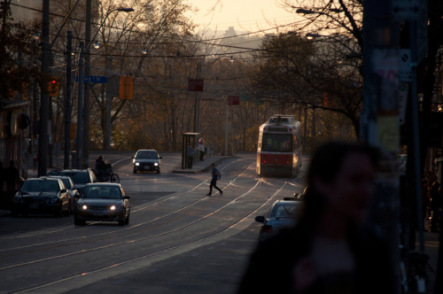 fuckyeahtoronto:  garychapple: Streetcar In The Fading Light At Queen & Roncesvalles Toronto, Ontario, November 11, 2012.