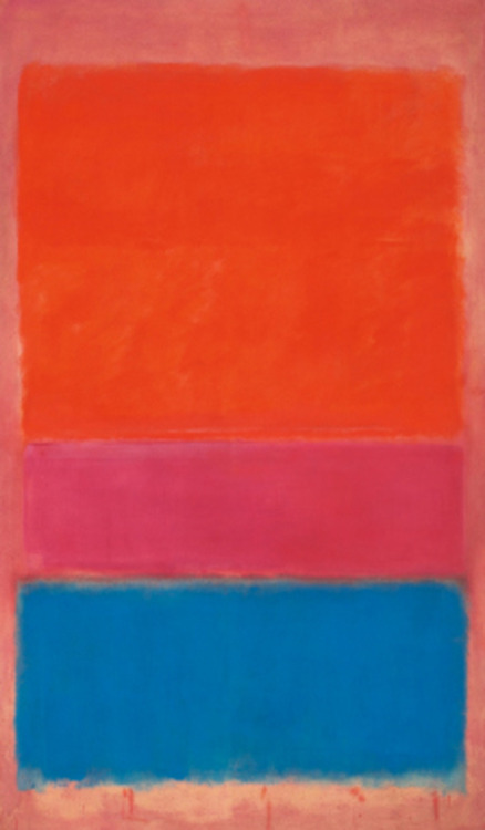 "bombtune:  Mark Rothko's ""No. 1 (Royal Red and Blue),"" 1954 Sold for $75.1 million on Tuesday at a Sotheby's auction. Sotheby's sold $375 million in value that evening, its highest ever. I wonder if the rich actually appreciate the art or the machismo that goes with it. Art is best appreciated by the public, ideally a museum, not bought for the single viewing pleasure of a coterie."