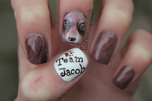 nailsbycoewless:  Team Jacob on Flickr. Had to to these for Breaking Dawn Part 2!www.coewlesspolish.wordpress.com