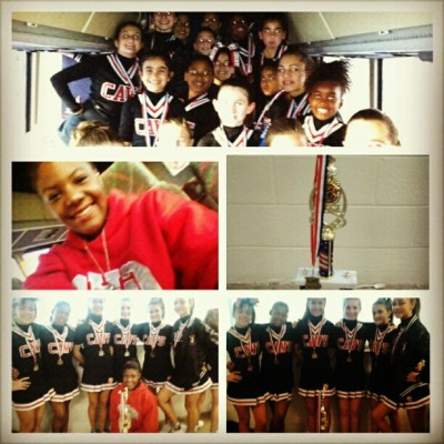 My babiess won twice in a row! They deserved it! #LittleCavs #Winning #FirstPlace #ForeverrACheerleaader #Happy #Coach #Trophy #Cheerleaders