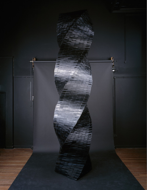 2,216 VHS Tapes / Tower no. 5 by Lorenzo Durantini Using VHS tapes, both in their casing and out, the artist transforms the outdated medium into art.