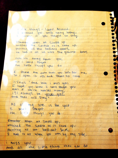 Writing all the lyrics to a song that reminds me of my bf on a letter to him.