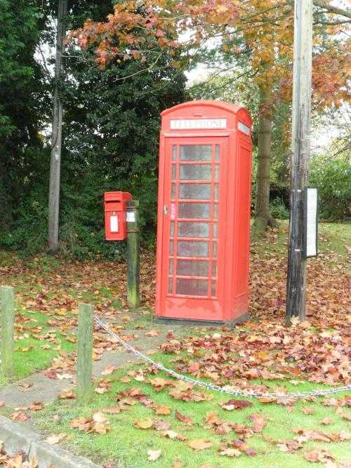 vwcampervan-aldridge:  Red telephone box and post box on the village green of Lapley, Staffordshire, England.