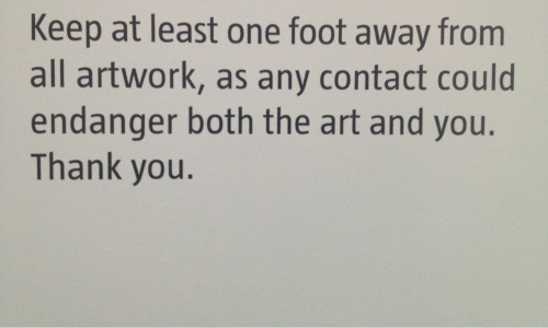 One'd think curators would prefer patrons keeping both feet away from the art.