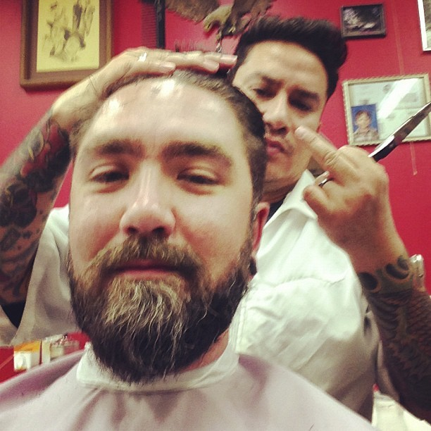 Customary @julian_73 flipping off the camera haircut pic. (at Barber Side)