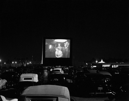 A movie playing at a drive-in. Bronx, 1951 © Bettmann