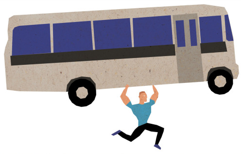 My own work! A little brief. Draw a man carrying a bus because him running would be faster.There are a couple ideas I want to develop with this little idea.