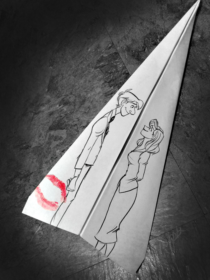 sillywhims:  Paperman. This isn't the first time I've used my lips + red lipstick for art purposes.