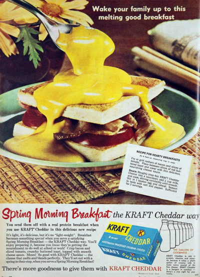 vivatvintage:  Cover a bacon sandwich with melted Kraft cheddar. 1963