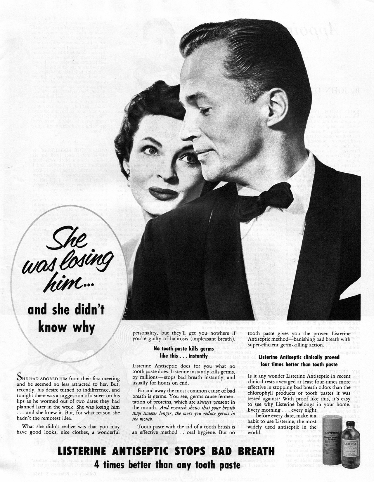"""She was losing him… and she didn't know why"" Listerine, 1956"
