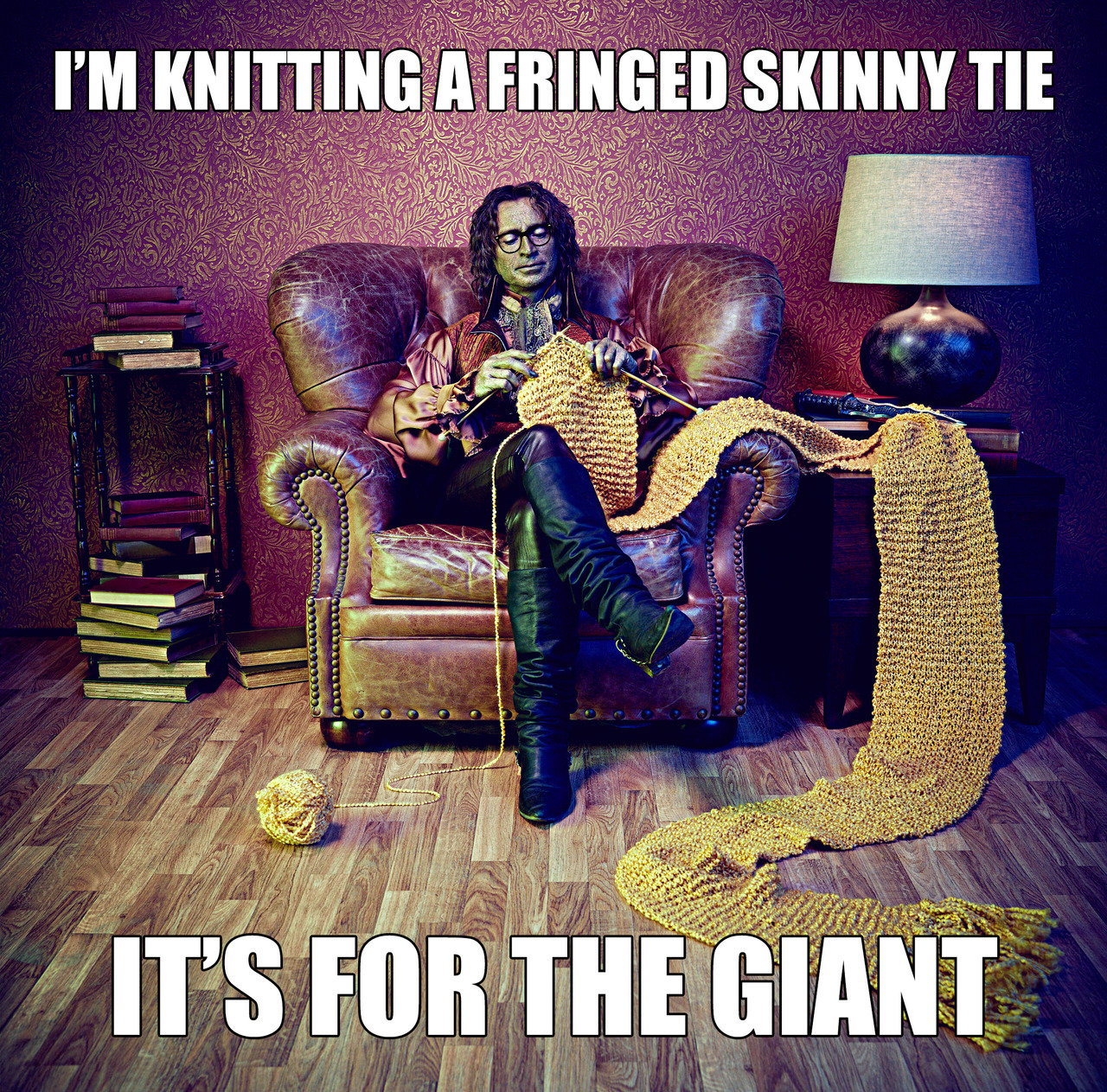 The Giant has very sensitive skin, so the yarn is hypoallergenic.