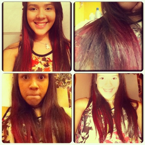 So i get bored. Yeah! #red #highlights #cool #girl #cute #redhair #hair #instacollage