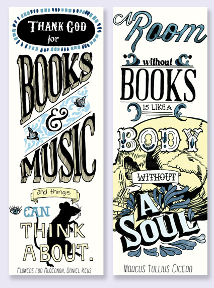 jessnewton:  title: Typography Bookmarks-date: October 2012-content: medium: pigment liner + digital colouringThese bookmarks are quotes from famous people which I have used hand-drawn type and illustration. The illustrations are a combination of original and found imagery.