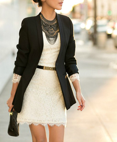 what-do-i-wear:  Blazer :: Zara (old) (similar here & here)Dress :: DVFBag :: ChanelAccessories :: Prada sunglasses, J.Crew belt,necklace thanks to Stella & Dot! (image: wendyslookbook)   minus the dress