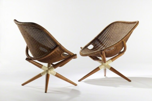 Joseph Andre MottePair of Tripod Chairs, 1949Rattan
