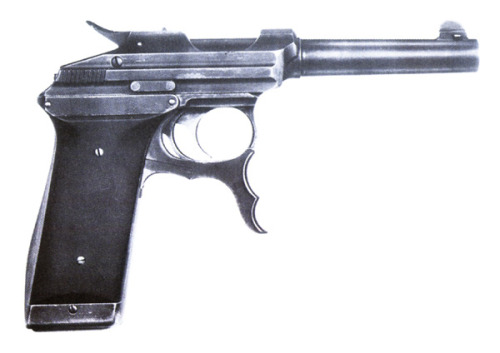 peashooter85:  White-Merril Pistol, An interesting single action semi-automatic design created in 1907, the White-Merril pistol was a contender for official sidearm of the US Military.  A blow back design, it was fed from a ten round magazine.  The most interesting feature was the large trigger mechanism located below the trigger guard.  Being the pistol is single action, this allowed a user to cock the pistol using his forefingers.  Ultimatley the design was passed up for John Browning's Colt 1911 instead.