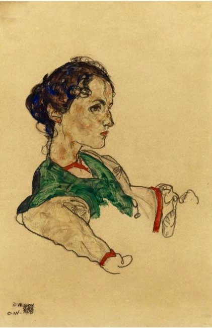 Schiele, Egon (1890-1918) - 1918 Portrait of the Artist Silvia Koller (Sotheby's London, 2010) (by RasMarley)